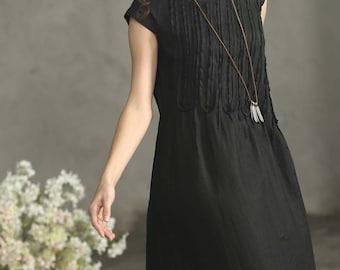 Black Linen Dress, Black Maxi Dress, Long Ruffle Linen Dress, Black Dress, Black Kimono Tunic Dress, Black Cocktail Dress,