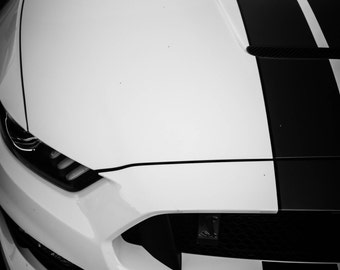 2017 Mustang GT350, ford muscle cars, gift for car lovers, ideas for wall décor, classic muscle cars, black and white, art pictures