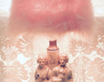 Vintage Lamp. Vanity. Pink Feather Shade with Ceramic Base. Light Up Your Bureau, Bathroom, Special Nook.