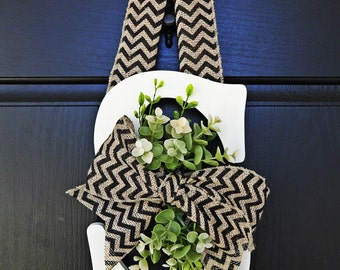 Off White Chevron Burlap and Greenery Wreath, Greenery Monogram Wreath, Chevron Wreath, Front Door Letter, Burlap Letter Wreath
