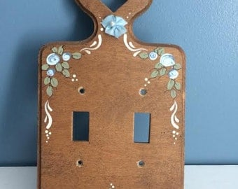 Light Switch Cover, Wood Light Switch Cover, Tole Painted, Vintage Tole Painting, Double Light Switch
