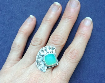 Chalcedony Ring with Aqua or Raspberry Chalcedony - Rose-Cut, Southwest Jewelry, Bohemian Rings, Stamped Ring, Silver Rings, Chalcedony ring