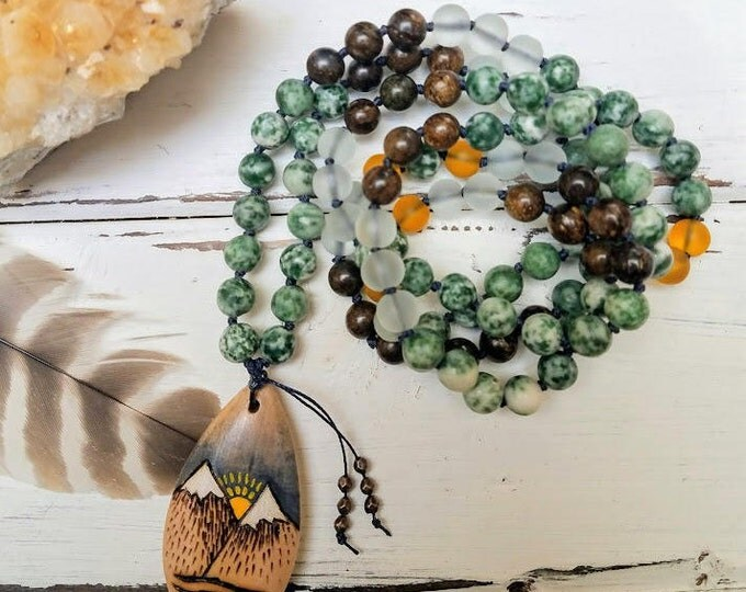 108 Bead mala gemstone with wooden pendant bohemian indie style
