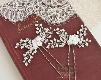 White Pearl Hair Pins, Baby's Breath Bridal Hair Pins, Wedding Hair Accessory, Beaded Pearl Wedding Hair Piece, Gold Pearl Hair Vines Pins