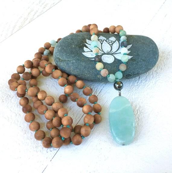 Amazonite Sandalwood Knotted Mala Beads, Earthy Mala Necklace, 108 Mala Bead Necklace, Yoga Meditation Beads, Yoga Beads