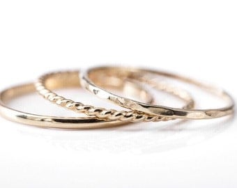 14k Gold Stacking Rings Rope Ring Hammered Ring Solid Gold Set of Three Delicate Dainty Gold Rings Mixed Twisted Thin Skinny Stacking Rings