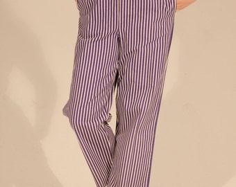 80s Pants Striped Pants Purple Pants High Waist Pants Loose Pants Vertical Striped Pants Straight Leg Pants Medium Pants Large Pants