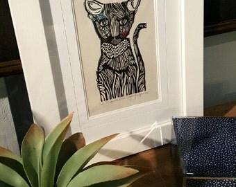 ORIGINAL CAT LINOCUT - linoleum blockprint - handprinted