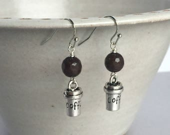 Coffee Cup Earrings, Coffee Lover Jewelry, Coffee Earrings, Gift for Coffee Lover, Coffee Jewelry