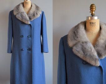 Suki wool & fur coat - vintage 1960s winter coat - 60s fur collar coat