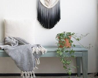 Macrame Wall Hanging / Modern Macrame / Black - Grey Dip Dye / Ombre / Wall Art / Boho Wall Hanging / Wall Tapestry / Macrame Tapestry