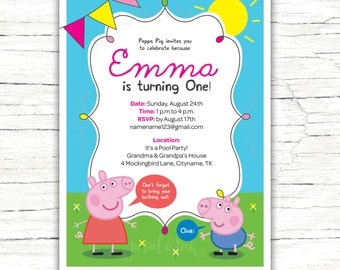 Peppa Pig Invitation, Peppa Pig Birthday Invitation, Peppa Pig Invitation Template, Peppa Pig Invite, Peppa Pig Printable Invite, DIGITAL FI