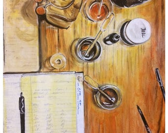 Wall Art -  Original Painting - Still Life - Bottle Art- Glass Art - Leah Reynolds