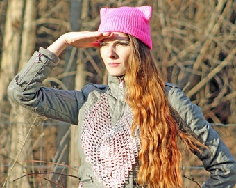 Hot Pink Pussy Hat! Cat Kitten Hot Pink Ear Hat Ready to Ship Women's Rights March on Washington Protest Resist Trump Impeach Political Gift