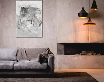Original Abstract Large Drawing, Black Fine Art, Contemporary Modern Wall Art Drawing