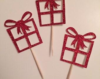 Christmas Present Cake Toppers - Christmas Cupcake Toppers, Christmas Cupcakes, Christmas Party Picks, Christmas Cake topper