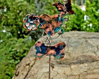 Dog Bone Metal Garden Yard Art Stake, Copper Garden Marker, Dog Bone Memorial Marker, Pet Memorial Dog Sculpture, Outdoor Metal Art