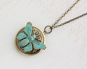 Butterfly Locket Necklace Antique Gold Brass Insect Wings Pendant Picture Photo Locket Long Chain Mothers Day Gift Teal Verdigris Patina
