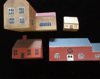 Primitive Miniatures Small Wood Houses Miniature Houses Handmade Four Piece Collection Country House Decor YourFineHouse SHIPSWORLDWIDE