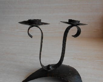 Vintage Wrought Iron Candleholder, Vintage Old Double Candlestick, Wrought Iron Decor, Vintage Home Decor, Authentic Old Rustic