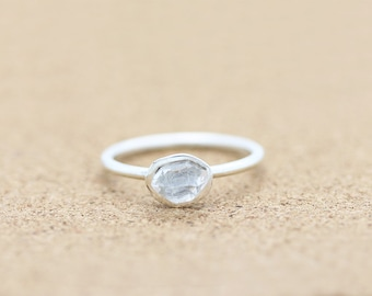 Sterling Silver Herkimer Diamond  Ring | Gemstone Ring | Dainty |Boho Chic Ring | Raw Crystal Ring | Bohemian |Diamond Quartz