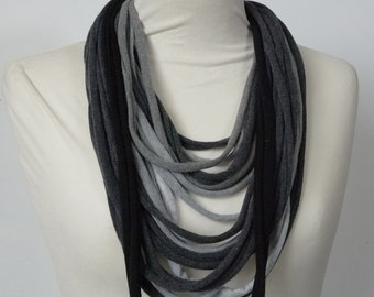 Upcycled t-shirt scarf: Gray shades with black [711]