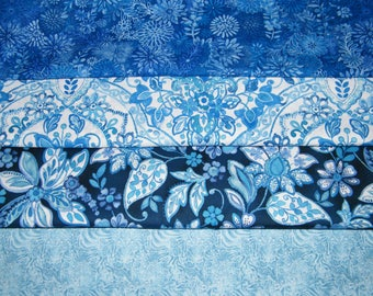 4 FQ Bundle – Bright Blue Floral 100% Cotton Quilt Craft Fabric Fat Quarters V6