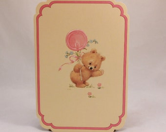 Mothers Day Greeting Card and Envelope. Love 'n Kisses by Drawing Board. Teddy Bear and Lollypop.