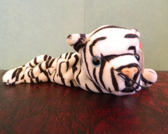 """TY Black And White Striped Tiger Beanie Baby """"Blizzard"""" (B)"""