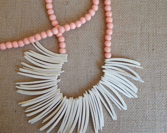Coconut wood bib necklace with salmon wood beads, beach chic, layering necklace, summer fashion, white wood tusks, bib necklace