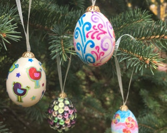 Whimsical Decorated Egg Ornaments Fun Designs