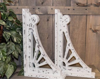Vintage Burst Style  Wooden Corbels - Set Of 2