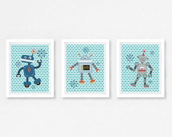 Robot Print, Robot Wall Art, Robot Nursery Decor, Baby Boy Nursery, Modern Nursery Art, New Baby Boy Gift, Blue and Grey Nursery Decor