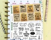 28 Motivational Quote Stickers / Decorative / Full boxes / Erin Condren / Planner Stickers