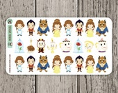 24 Beauty and The Beast Stickers / Erin Condren Planner Stickers / Journal Stickers