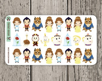 24 Beauty and The Beast Stickers / Planner Stickers / Journal Stickers