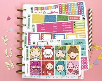 Alice In Wonderland Planner Sticker Kit / Planner Stickers for use with the Erin Condren LifePlanner(TM)