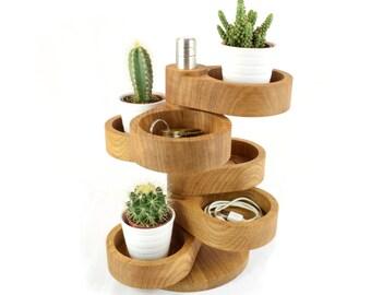 Home Organiser, Oak Catchall Tower, Multi Six Tier Display, Wooden Trinket Holder, Plant Stand, Housewarming, 5th Anniversary, Wedding Gift
