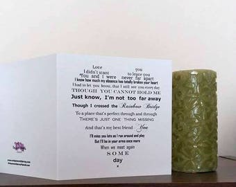 Sympathy card for loss of a pet, Rainbow Bridge poem, Pet bereavement, Thinking of you, Comforting Card