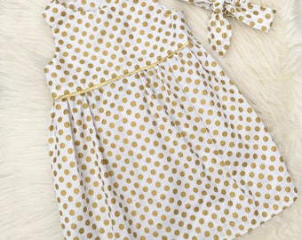 Girls Spotty Dress, Party Dress, Flower Girl Dress, Modern Christening Dress, UK