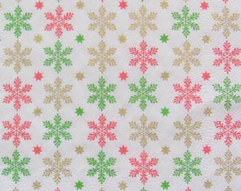 Set of 2 pcs 3-ply ''Colorful Snowflakes'' paper napkins for Decoupage or collectibles 33x33cm, Holiday napkins, Winter napkins, Servietten