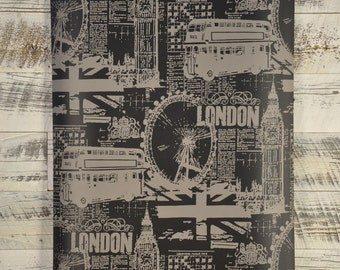 Black and Grey Vintage London Scene Wallpaper BW28746