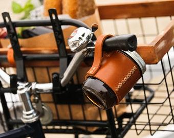 Personalized Leather Coffee Mug, Travel Mug, Beer Mug, Travel Coffee Cup, Hipster Gift, Leather Ball Mason Jar Mug Sleeve,Leather Mug Holder