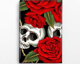 Skulls and Roses Rectangle Magnet 190