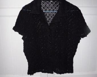 Lace blouse size L - 1970s
