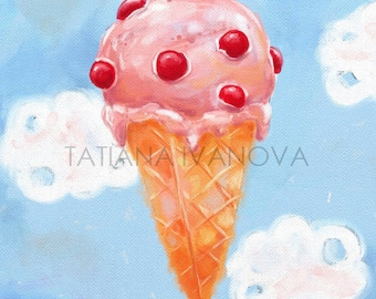 Pink Ice Cream Art Print