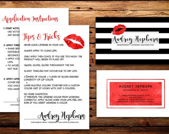 LipSense Business Cards Buyers Cards || Custom Stripe Watercolor Red