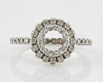 0.46ct Side Diamonds in 14K White Gold Semi Mount Filigree Double Halo Ring (NO CENTER STONE)