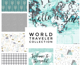 Custom Baby Bedding// World Traveller Collection// Mix and Match Baby Bedding