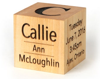 "2"" solid wood baby stat block. Engraved wood baby block with personalized baby info and stats. Keepsake block laser engraved baby gift"